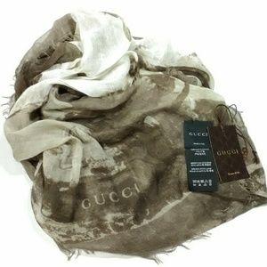 Authentic Gucci Silk Wool Blend Shawl Scarf